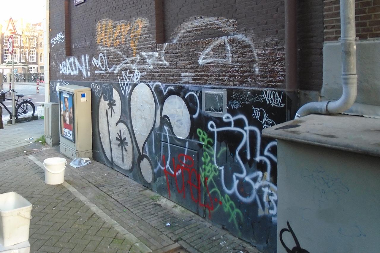 Graffiti Belgisch hardsteen Amsterdam steeg